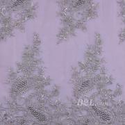 绣花 珠片绣花 花朵 礼服婚纱 期货经编机 染色 刺绣 手工 低弹 薄纱感 60916-5