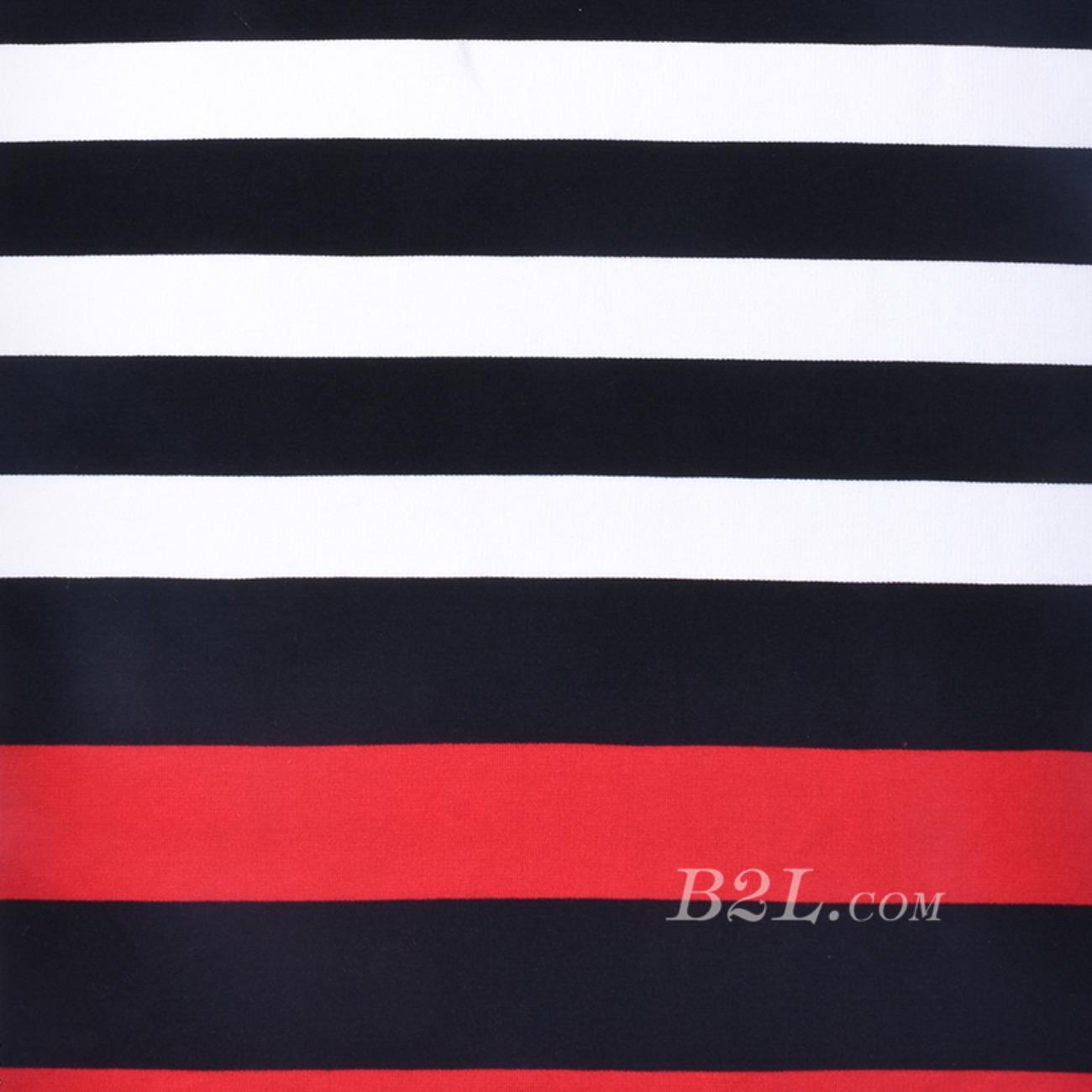 圆机纬编弹力针织条子面料竖条T恤针织衫棉感定位连衣裙期货60311-59