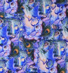 孔雀羽毛 期貨 抽象 梭織 印花 連衣裙 襯衫 短裙 薄 女裝 春夏 60621-135