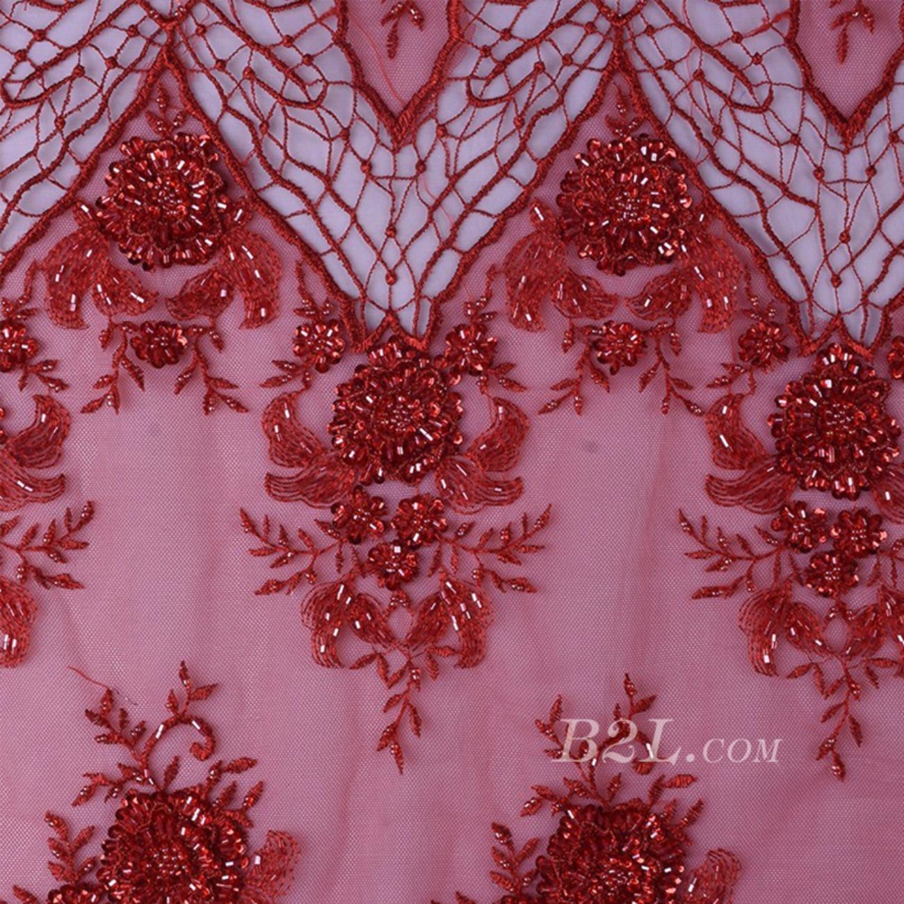 繡花 珠片繡花 花朵 禮服 婚紗 經編機 染色 刺繡 手工 低彈 薄紗感 60916-11
