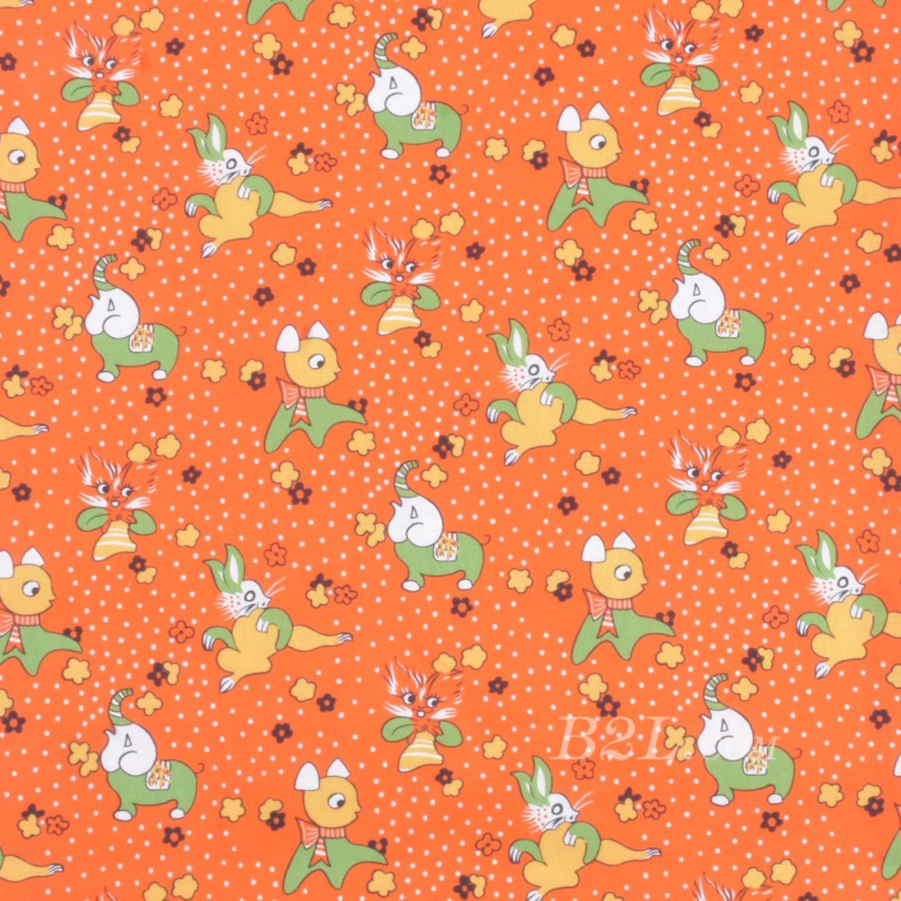 梭织染色小动物印花面料-春夏连衣裙裤装面料90619-2