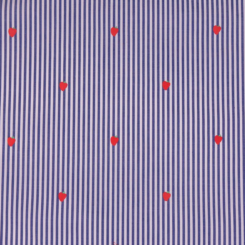 条纹 草莓 喷气 色织 印花 无弹 衬衫 连衣裙 女装 春夏 70327-41