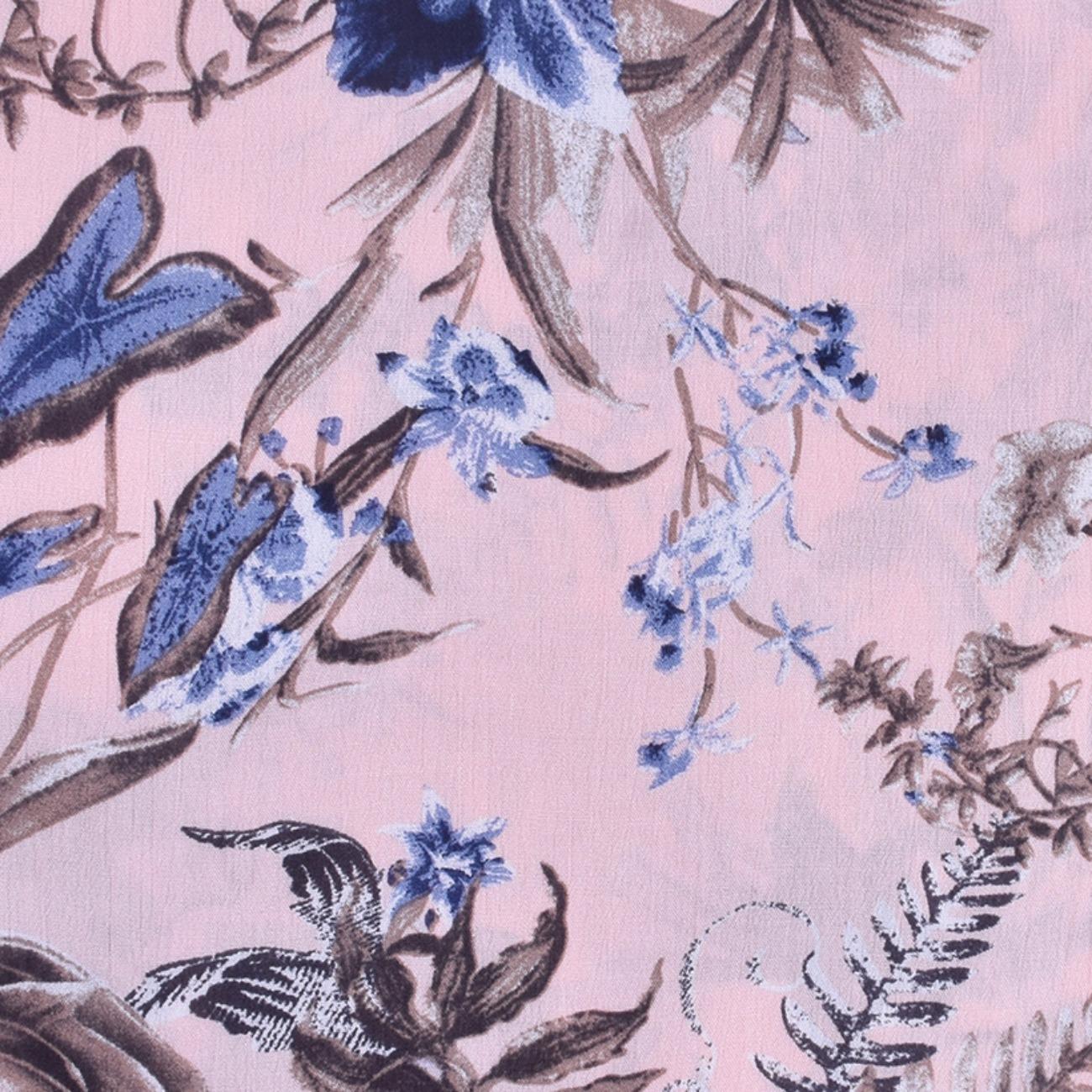 印花 花朵 梭织 人棉皱 现货 无弹 衬衫 连衣裙 短裙 棉感 薄 70522-18