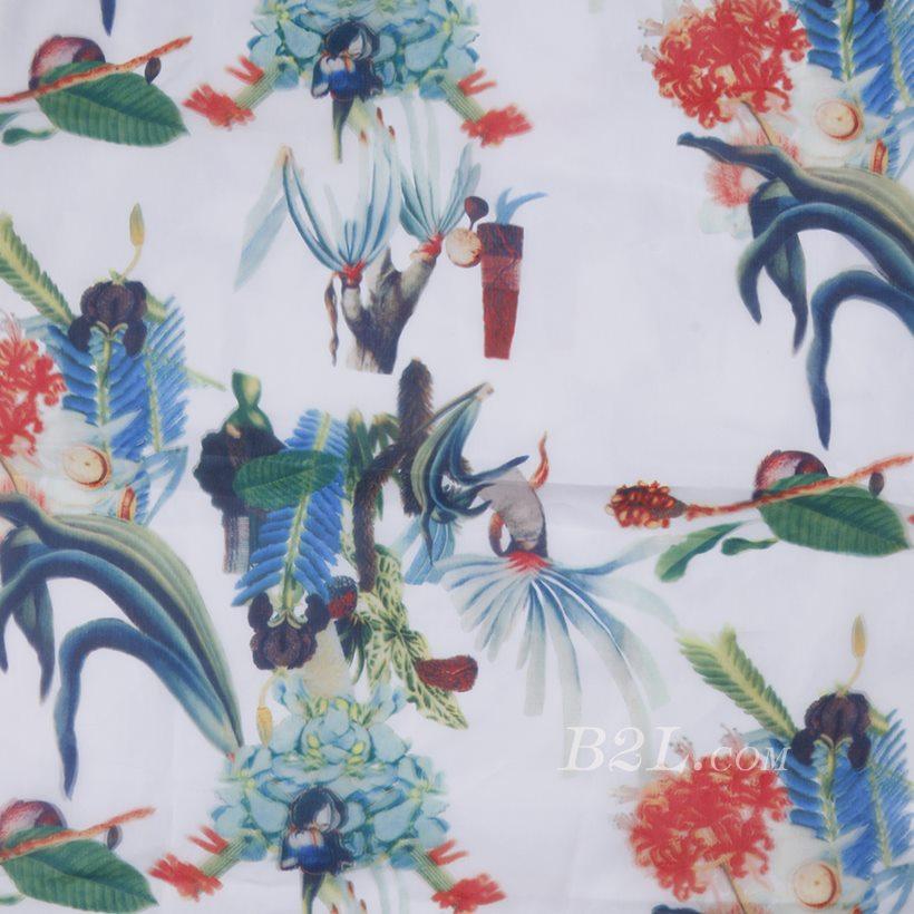 印花 梭织 植物 无弹 纱感 女装 连衣裙 短裙 春夏秋 71125-26