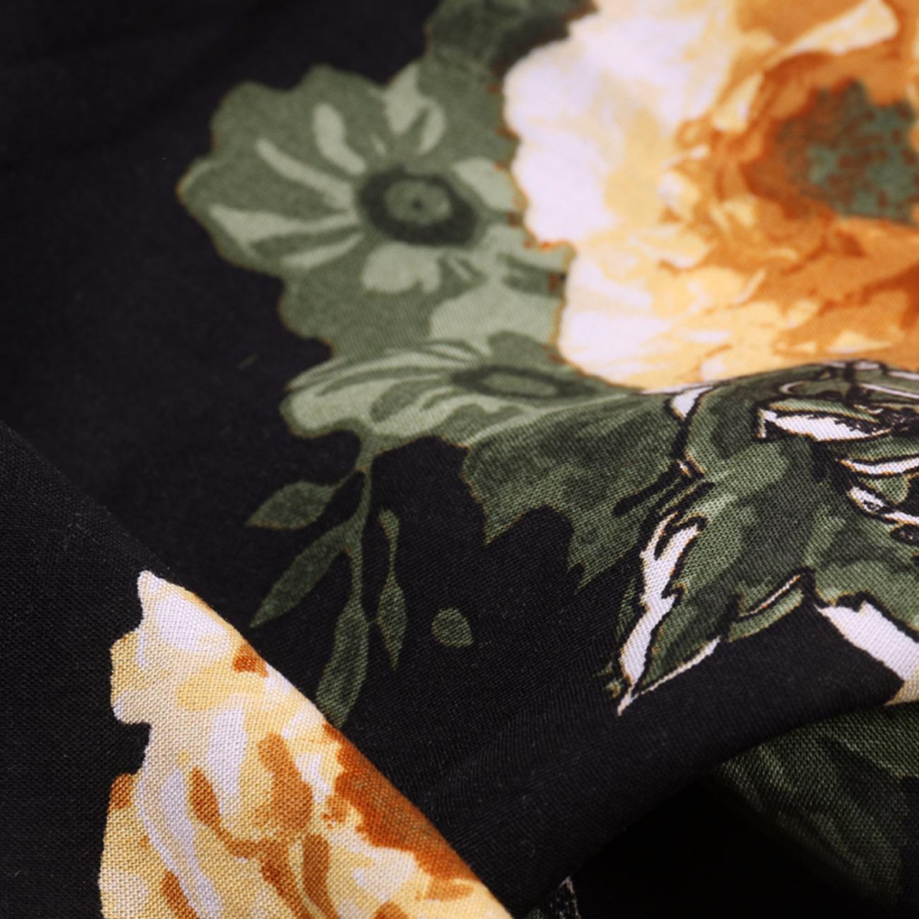 人棉期货车矢菊 花朵 梭织 印花 无弹 衬衫 连衣裙 短裙 薄 棉感 70522-63