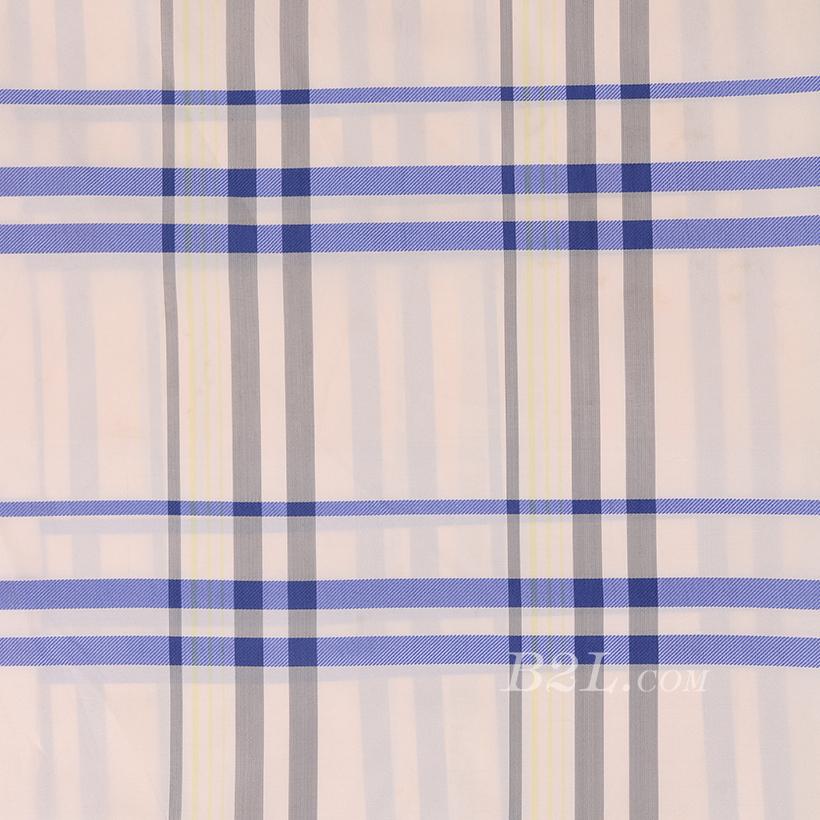 全涤 格子 无弹 色织 梭织 衬衫  女装 春秋 80102-1