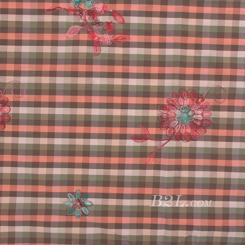 花朵 格子 色织 梭织 绣花 微弹 连衣裙 衬衫 女装 童装 春秋 71227-48