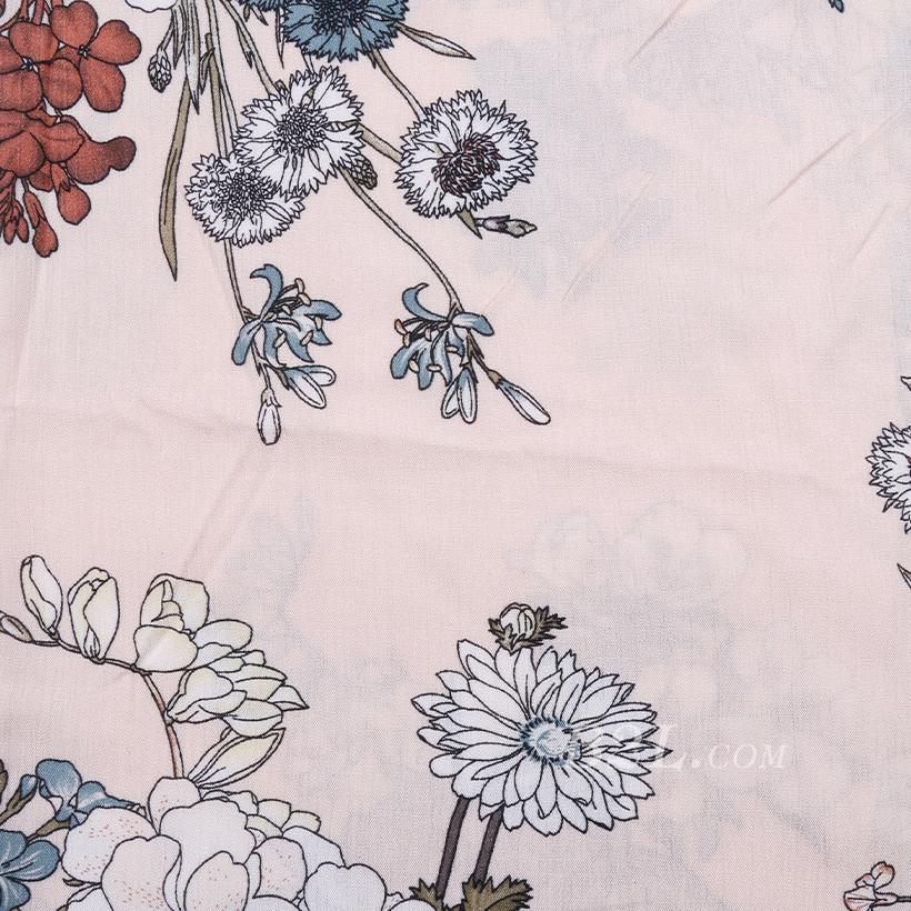 全人棉 人棉皱 花朵 梭织 印花 低弹 连衣裙 衬衫 女装 春秋 71204-12