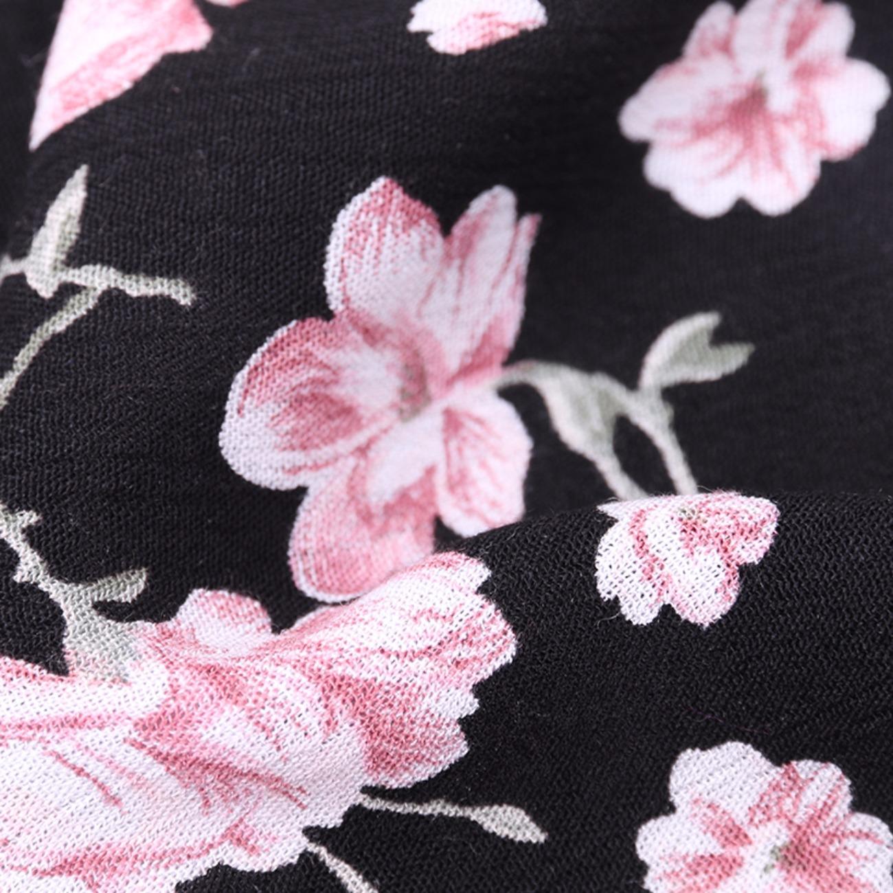印花 花朵 梭织 人棉皱 现货 无弹 衬衫 连衣裙 短裙 棉感 薄 70522-7