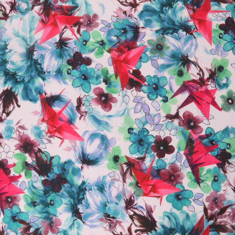 千纸鹤 期货 花朵 梭织 印花 连衣裙 衬衫 短裙 薄 女装 春秋 60621-155