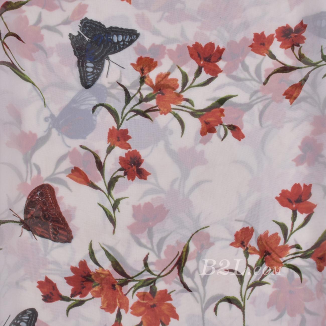 印花 蝴蝶 花朵 底弹 薄 春夏秋 外套 连衣裙 期货 80921-3