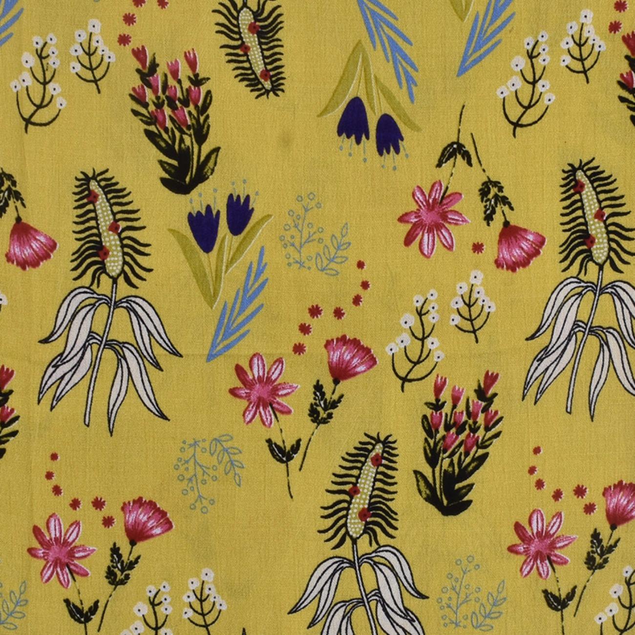 人棉皱 现货 植物 花朵 梭织 印花 无弹 衬衫 连衣裙 短裙 棉感 薄 70522-5