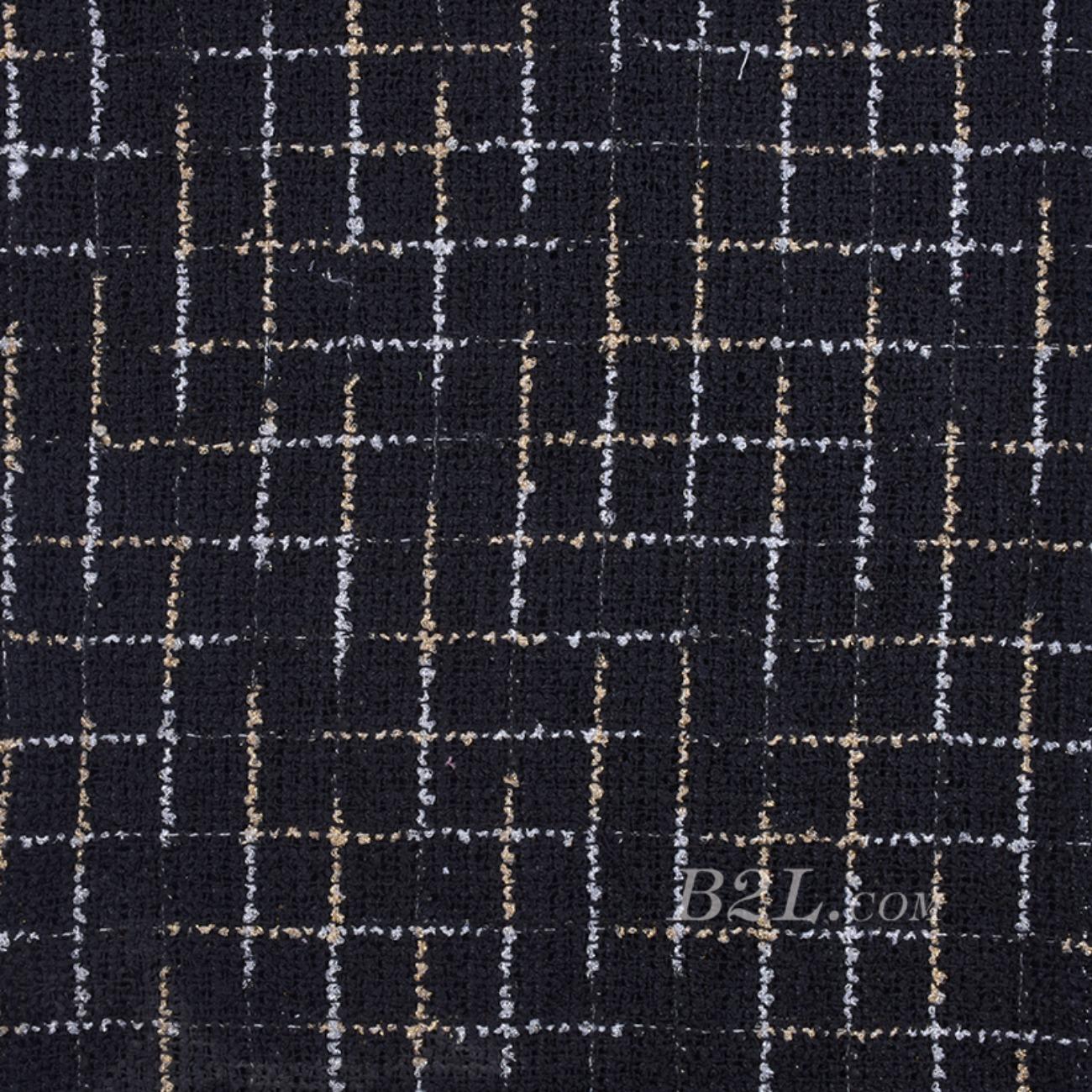毛纺 粗纺 格子 全涤 提花 色织 无弹 粗糙 秋冬 大衣 外套 女装 80901-22