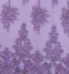 绣花 花朵 礼服 婚纱 期货经编机 染色 刺绣 手工 低弹 薄 纱感 60916-2