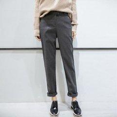 【小腿粗的人选择什么裤子】高腰毛呢西装长裤