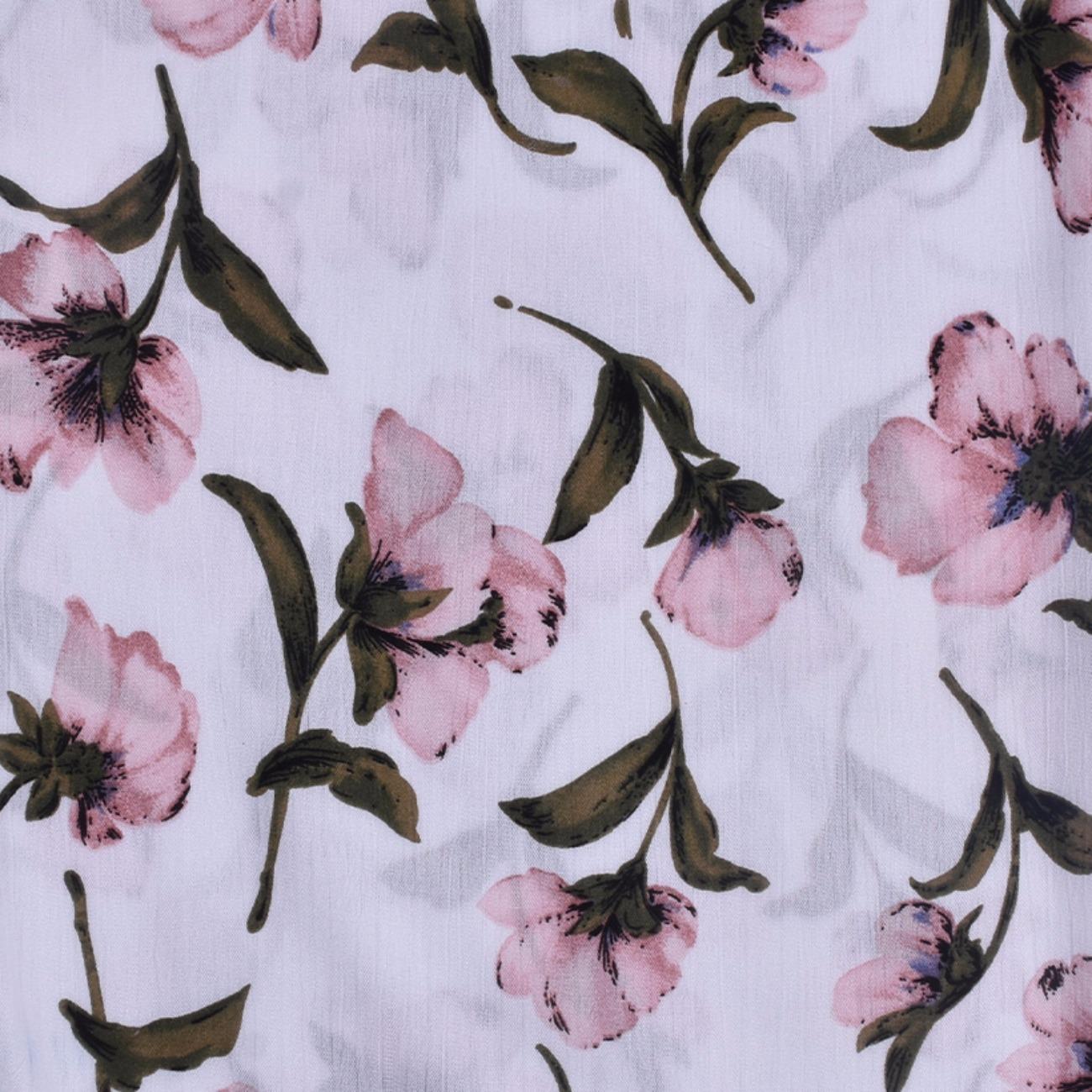 人棉皱 现货 花朵 梭织 印花 无弹 衬衫 连衣裙 短裙 棉感 薄 70522-6