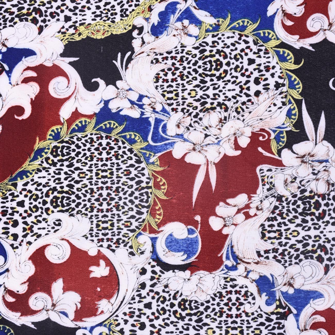 现货豹点抽象印花针织 T恤 针织衫 连衣裙  妈妈装 四面弹柔软圆机纬编单面 60314-16