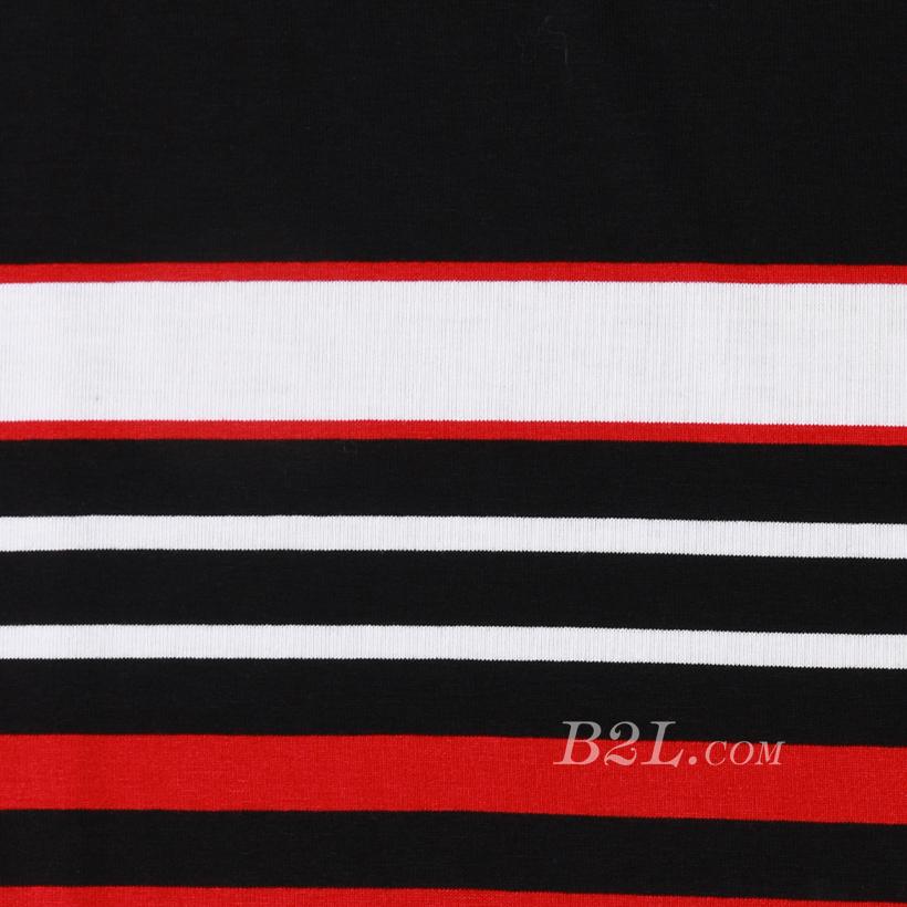 条子 横条 圆机 针织 纬编 T恤 针织衫 连衣裙 棉感 弹力 定位 罗纹60312-67