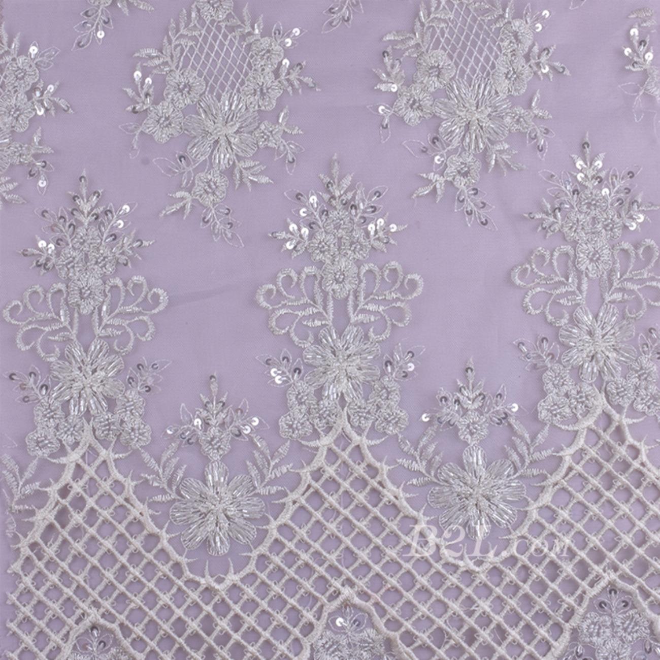 绣花 珠片绣花 花朵 礼服 婚纱 期货经编机 染色 刺绣 手工 低弹  薄 纱感 60916-12