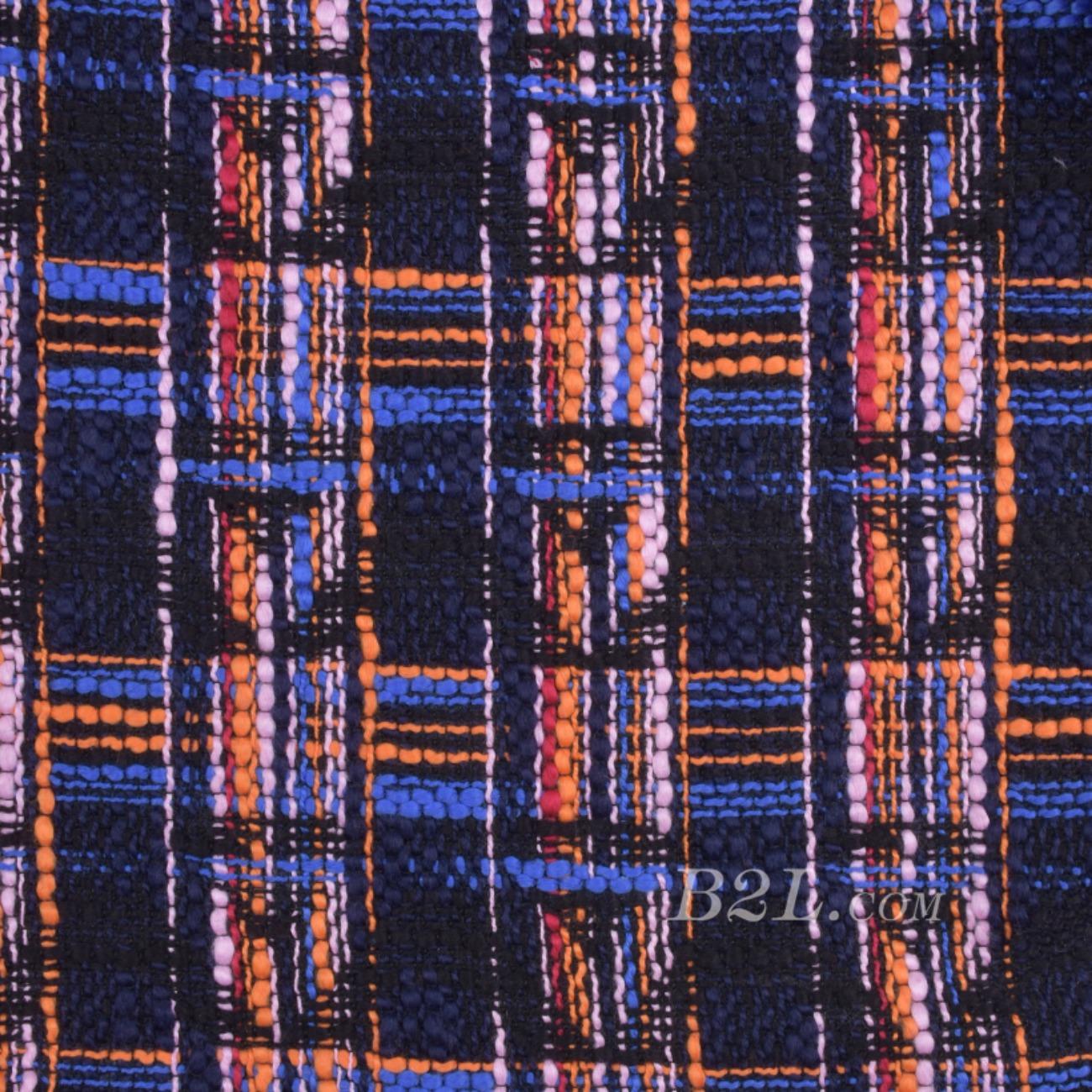 毛纺 粗纺 格子 粗花呢 提花 色织 无弹 粗糙 秋冬 大衣 外套 女装 80907-5