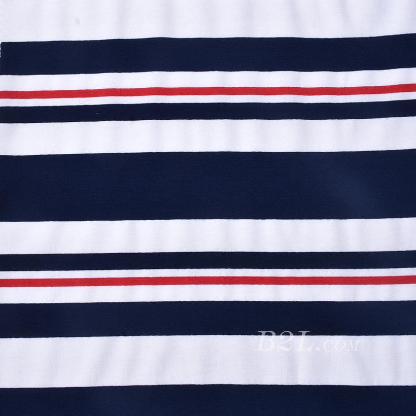 条子 横条 圆机 针织 纬编 T恤 针织衫 连衣裙 棉感 弹力 定位 60312-61