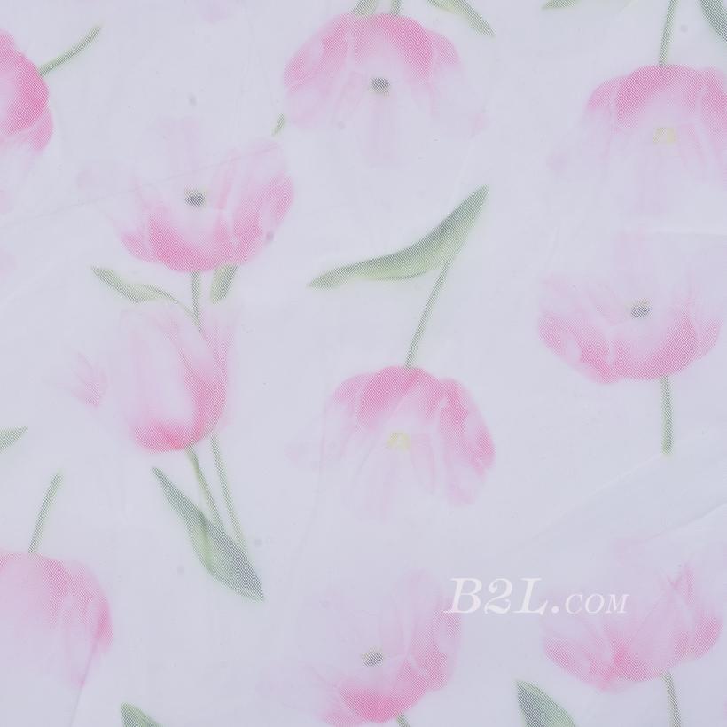 期货 印花 全涤 针织 花朵 薄 低弹 网布  连衣裙 春夏 女装 80302-53