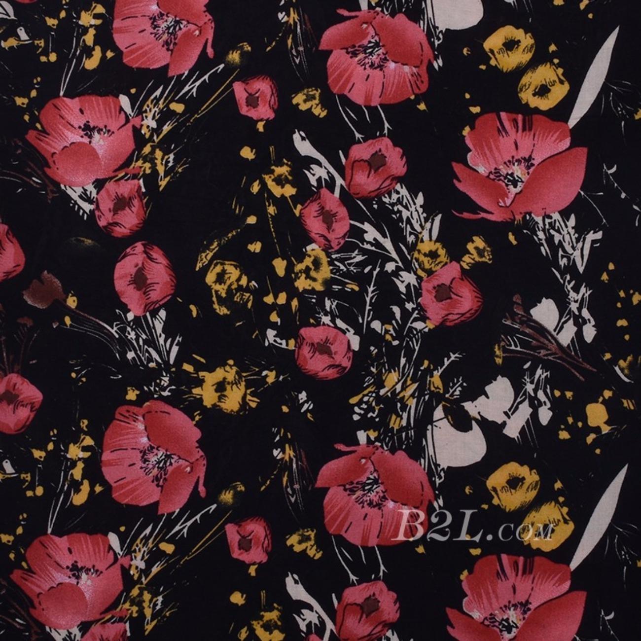 印花 植物 梭织 人棉期货花朵无弹衬衫连衣裙 短裙 薄 棉感 70531-40