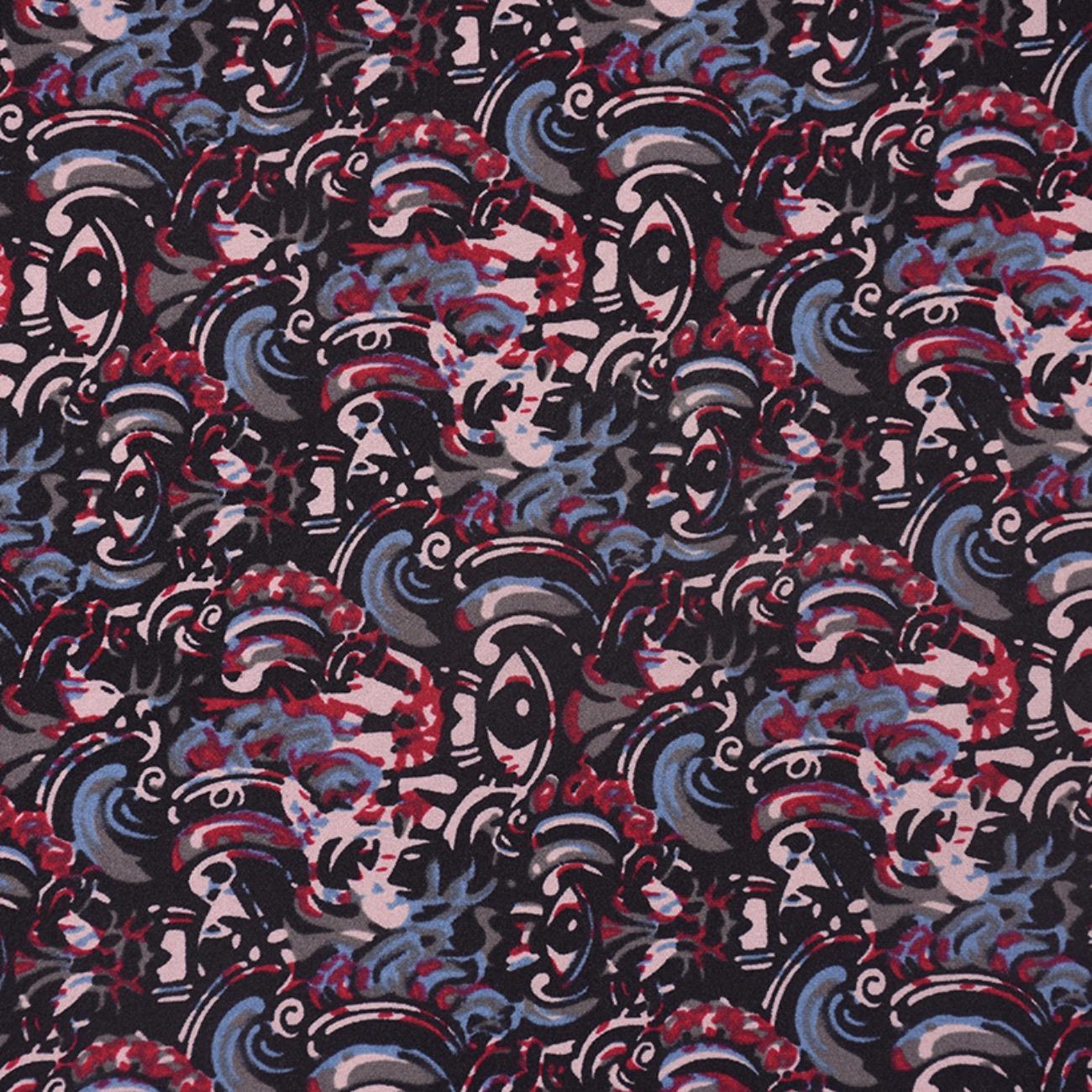 现货抽象印花针织  T恤  针织衫 连衣裙 妈妈装 四面弹柔软圆机纬编单面 60314-17