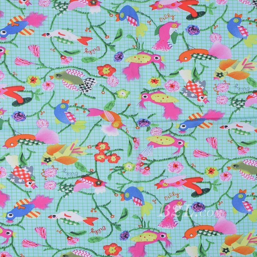 印花 全棉 鸟 棉感 梭织 低弹 薄 连衣裙 寸衫 四季 女装 童装 80302-8