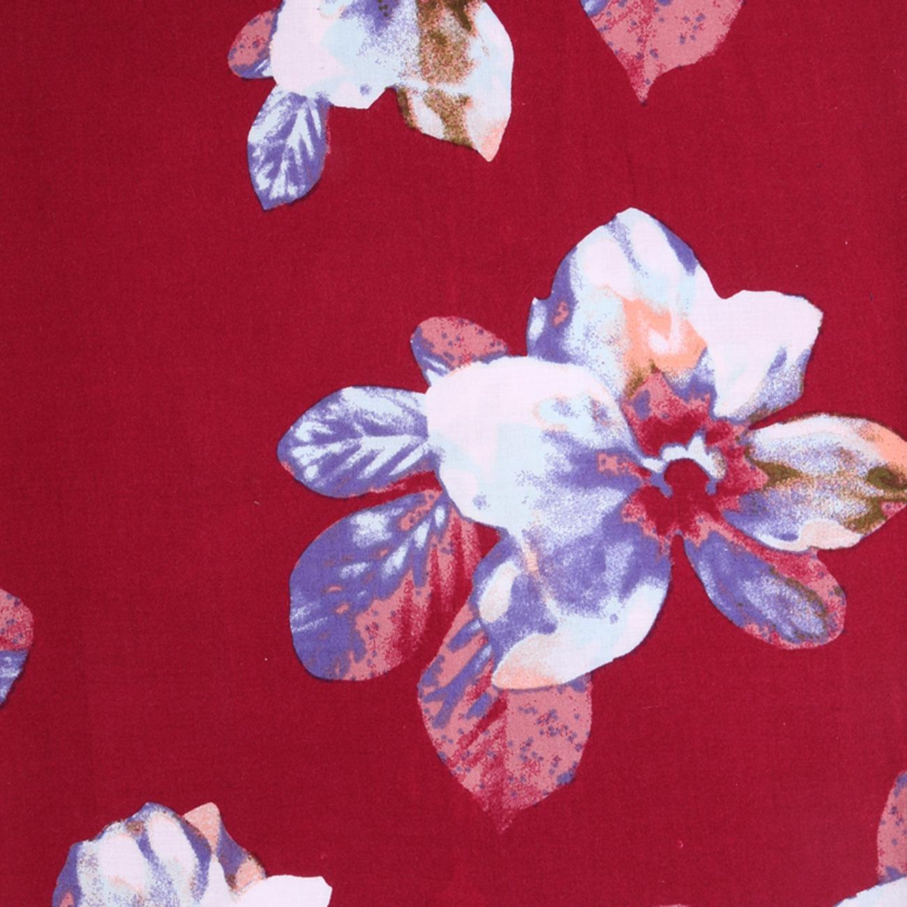 人棉期货花朵梭织印花无弹衬衫连衣裙 短裙 薄 棉感 70522-78