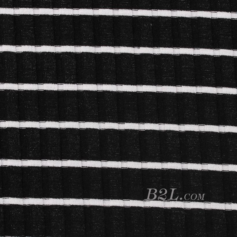条子 横条 圆机 针织 纬编 T恤 针织衫 连衣裙 棉感 弹力 定位 罗纹60312-57