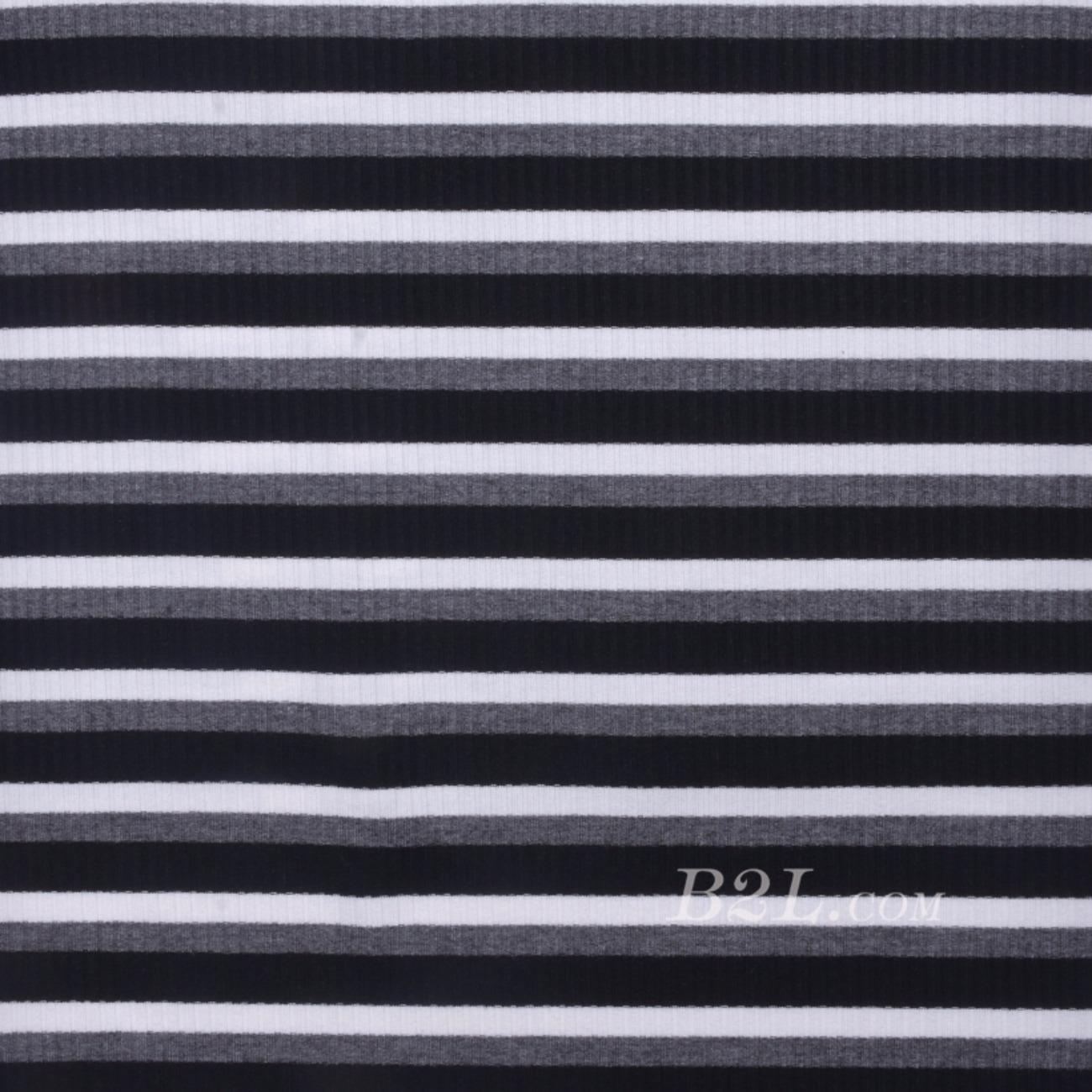 条子 横条 圆机 针织 纬编 棉感 弹力 罗纹 T恤 针织衫 连衣裙 80131-6