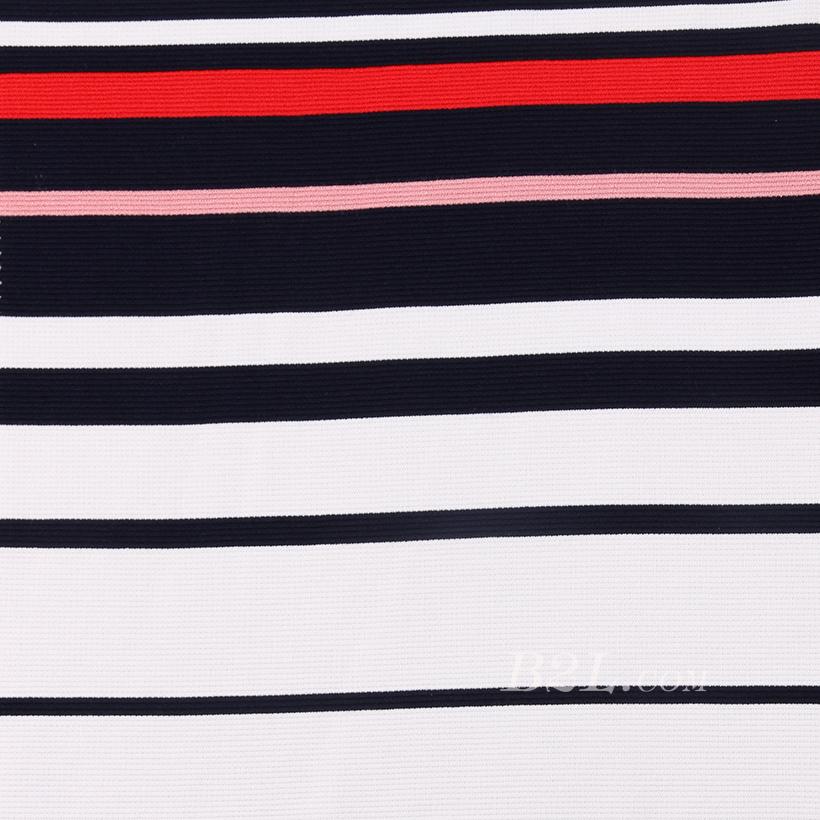 楼梯布 坑条 条子 横条 圆机 针织 纬编T恤 连衣裙针织衫 定位棉感弹力 60311-1
