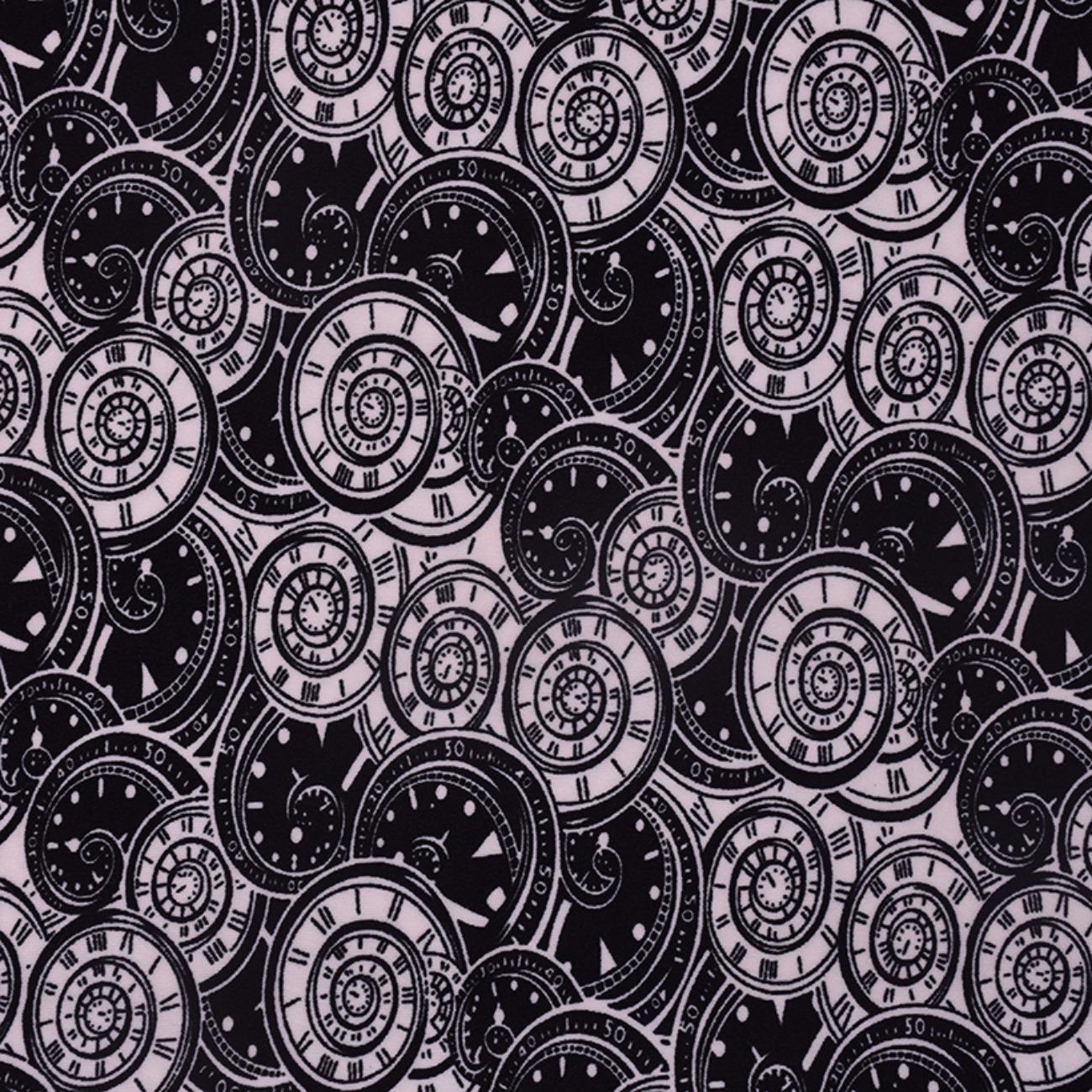 现货手表印花针织  T恤  针织衫  连衣裙 妈妈装 四面弹 柔软 圆机 纬编 单面 60314-15