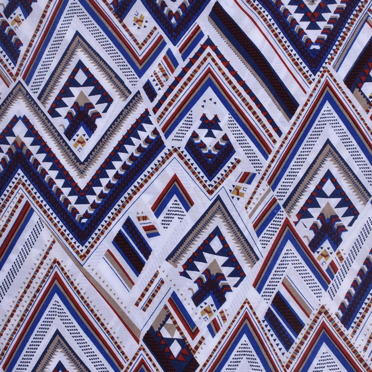 人棉期货几何梭织印花无弹衬衫连衣裙 短裙 薄 棉感 70522-58