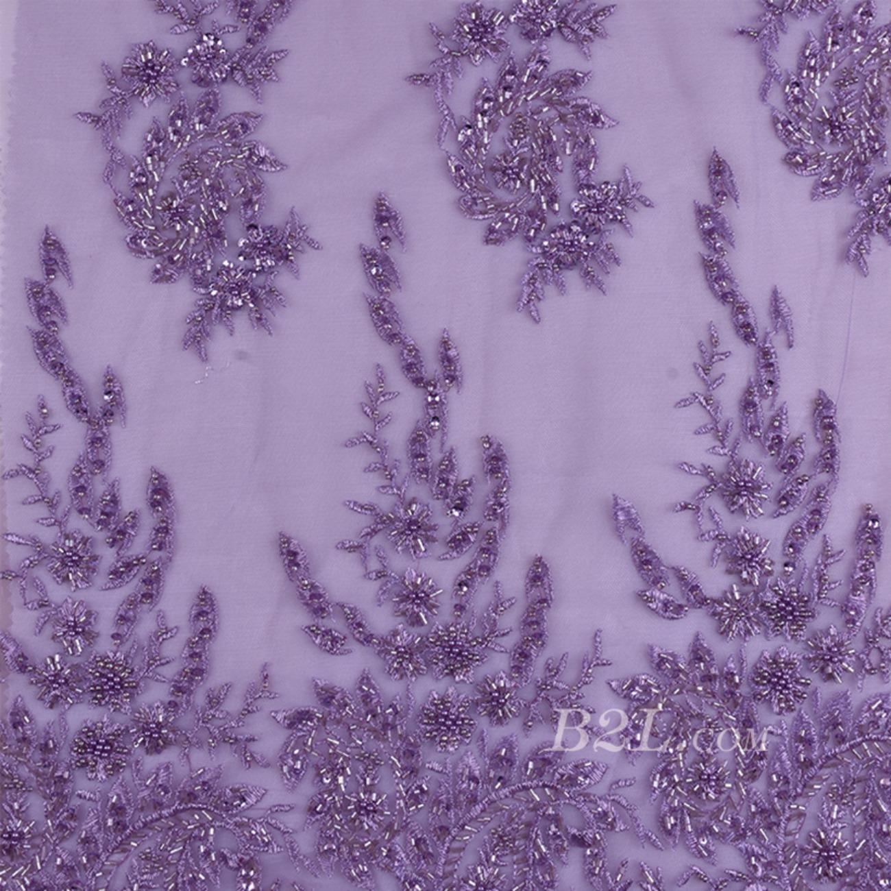 绣花 珠片绣花  礼服 婚纱 期货经编机 染色 刺绣 手工 低弹  薄 纱感 60916-1